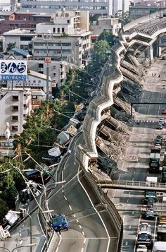Kobe after the big earthquake in 1995 - a section of elevated highway collapsed