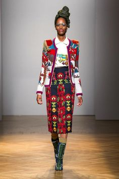 Stella Jean Fall Winter 2017-2018 | Cold War Collection African Inspired Fashion, Ethnic Fashion, Colorful Fashion, African Fashion, Fashion 2017, Fashion Art, Autumn Fashion, Fashion Outfits, Fashion Design