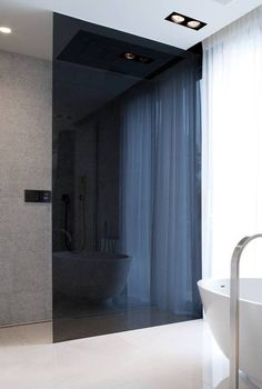 I Like The Idea Of A Colored Glass Shower - Not This Dark - Perhaps A Light Smoke or Amber Depending On Tone Of Bathroom