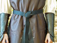 "Medieval Leather Ring Belts - 60"" Long, Black or Brown"