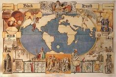 map showing HISTORY & DISTRIBUTION of BLACK DEATH worldwide UNIQUE 24X36
