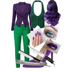 female joker DIY costume by walker03 on Polyvore featuring J.TOMSON, Dolce&Gabbana, Nine West and Murdock London