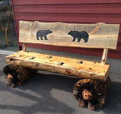 Chainsaw Carved Rustic Half Log Bear Bench W/Back