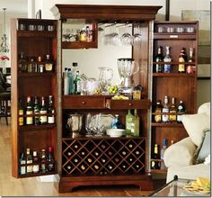 Barmoires | Restyling Home by Kelly  Turn armoire into a bar! What an amazing idea!
