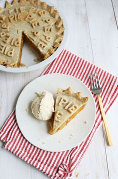 My favorite peach pie. (what a cute idea to decorate it with cut out letters.)
