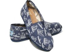 TOMS - Navy Sailboats Women's Classics
