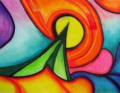 Abstract soft pastel drawing print