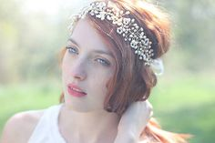 Bridal pearl headpiece - this hair vine is completely wired by hand with attention to detail. This woven pearl headband is made with hundreds of Pearl Headpiece, Pearl Headband, Headpiece Wedding, Pearl Hair, Bridal Headpieces, Hair Vine, Vintage Inspired, Wreaths, Pearls