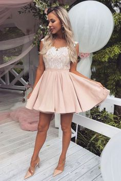 Buy Cute Pink Lace Satin Above Knee Homecoming Dresses, Sweet 16 Dresses online. Rock one of the season's hottest looks in a burgundy homecoming dress or choose a timeless classic little black dress. Dresses Short, Hoco Dresses, Dance Dresses, Sexy Dresses, Cute Dresses, Elegant Dresses, Woman Dresses, Summer Dresses, Mini Dresses