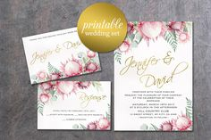 Items similar to Floral Wedding Invitation Printable summer Wedding Invitation King protea Wedding Invitation Greenery Pink Wedding Invite Boho on Etsy Summer Wedding Invitations, Bachelorette Party Invitations, Watercolor Wedding Invitations, Printable Wedding Invitations, Floral Wedding Invitations, Bridal Shower Invitations, Protea Wedding, King Protea, Bridal Shower Party