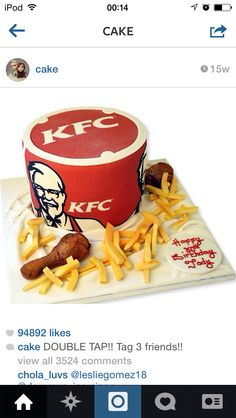 Now this cake is my cups of tea, i dunno about you! I would love to have this cake its amazing, but when you eat it wont you think that you eating KFC until you taste the cake? Hmm..