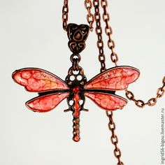 Copper pendant / Подвеска кулон стрекоза красная с росписью и эпоксидной смолой, купить подвеску кулон в виде стрекозы,красная стрекоза подвеска купить, купить украшение стрекоза с росписью и эпоксидкой