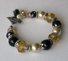 Riley Handmade Beaded Black Onyx Bracelet by bdzzledbeadedjewelry, $34.00