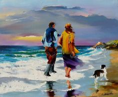 Christian Jeque Art Tips, Strand, Boat Painting, Couple Painting, Seascape Paintings, Landscape Paintings, Watercolor Landscape, Watercolor Paintings, Christian Jequel