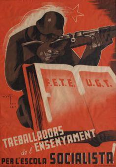 By Marti Bas i Blasi (1910-1966), 1936, Treballadors de l'Ensenyament, Per l'Escola Socialista!, Barcelona. (S)