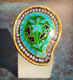 18K Vermeil Cloisonnée Paisley Ring #Turquoise #Ring #Sikara