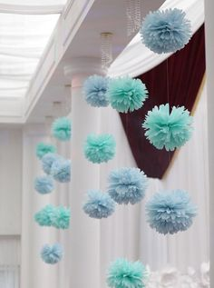 New baby shower diy flowers pom poms Ideas Christening Decorations, Christening Party, Baptism Party, Baby Shower Decorations, Wedding Decorations, Christmas Decorations, Blue Party Decorations, Holiday Decor, Tissue Paper Decorations