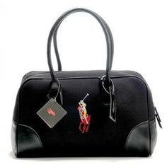 Ralph Lauren Canvas Black Leather Pony Satchel is on clearance sale, the world lowest price.$43.57