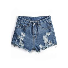 Blue Pockets Ripped Fringe Denim Shorts SH1500044 ($25) ❤ liked on Polyvore featuring shorts, bottoms, sheinside, short, blue, high-waisted shorts, distressed denim shorts, high waisted shorts, ripped jean shorts and denim shorts