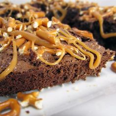 "Caramel Pretzel Brownies | ""If you love chocolate, caramel, and pretzels mixed together, you'll love these! If you have a good caramel recipe use it; it would sure beat unwrapping all of the caramels! As goes for a great brownie recipe!"""