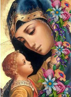 Mother Mary and Jesus Madonna Und Kind, Madonna And Child, Jesus And Mary Pictures, Mary And Jesus, Blessed Mother Mary, Blessed Virgin Mary, Religious Icons, Religious Art, Immaculée Conception