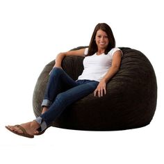 Black 4 Foot Memory Foam Bean Bag Chair Bedroom Living Room Dorm Lounge