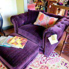 Purple chair and ottoman Purple Home, Diy Chair, Chair And Ottoman, Chair Upcycle, Pallet Chair, Ottoman Furniture, Ottoman Footstool, Ikea Chair, Furniture Nyc