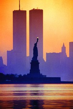 The twin towers before 9/11 against a lavender sunset. #NYC