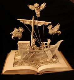 """The Odyssey"" book sculpture (artist: Jodi Harvey-Brown) Folded Book Art, Paper Book, Book Folding, Paper Art, Cut Paper, Book Sculpture, Paper Sculptures, Art Tribal, Altered Book Art"