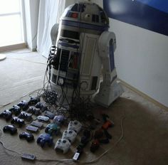 one r2d2. 8 game systems.