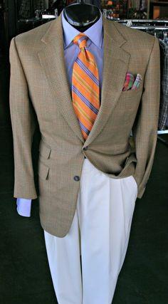 Sport Coat by Samuelsohn(42R)  Shirt by Hamilton(16)  Slacks by Jack Victor(35)  Tie by Robert Talbott  Pocket Square. The Baumans Look!