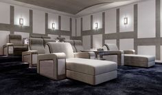 Furnish your private Cinema Room with Vismara Design Recliner Theatre Seating, you may also choose the comfortable Chaise Longue Solution. #vismaradesign #hometheatreroom #privatehometheter #luxury #madeinitaly #luxuryitalianfurniture