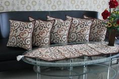 Set Sarung Bantal Kursi Batik. Kode SBK003, Proses Batik Cap dengan motif Ukel