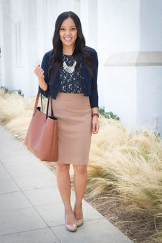 7ab55c7507 Four Ways to Wear a Navy Printed Top for Casual and Business Casual. Tan  Skirt ...