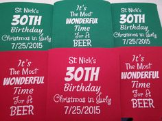 30th Christmas birthday koozies design by odysseycustomdesigns #30thbirthdayparty #30th #Birthday #Koozies