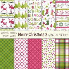 Christmas Digital Paper MERRY CHRISTMAS 2 by DigitalStories, €2.60