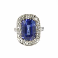 Art Deco Natural Burmese Sapphire and Diamond Cluster Ring