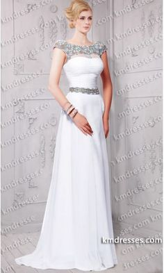 Goddesses Colored Stones Embelished Cap Sleeves Sheer High Neckline Chiffon dress.prom dresses,formal dresses,ball gown,homecoming dresses,party dress,evening dresses,sequin dresses,cocktail dresses,graduation dresses,formal gowns,prom gown,evening gown.