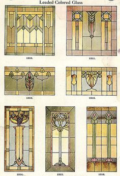 Stained Glass window designs, 1923 (known as Art Glass back then)