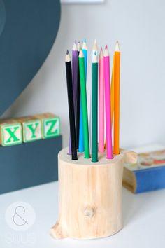 Originele unieke houten kleurpotlodenhouder van ensuus op Etsy, €16,95