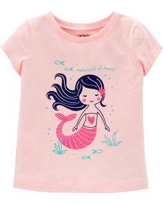 Baby Girl Mermaid Jersey Tee   Carters.com Baby Girl Shirts, Baby Girl Tops, Carters Baby Girl, Shirts For Girls, Toddler Girl, Toddler Stuff, Girls Tees, Baby Boy, Toddler Fashion