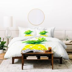 Shop our fun Pineapple Duvet Cover and all additional coordinating bedding and decor! Fresh yellows and greens on crisp white background.