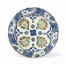 DISH sold by Christie's, London, on Thursday, October 2012 Glazes For Pottery, Ceramic Pottery, Pottery Art, Rock Border, Blue Tulips, Turkish Tiles, China Painting, Orient, Ceramic Plates