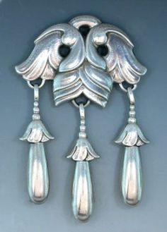 Sterling Silver Flower Brooch w/3 Hanging Drops by Georg Jensen