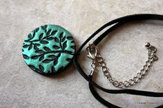 Floral Polymer Clay Hand Stamped Pendant by charancreations, $14.50