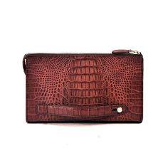 Brown Crocodile Skin Leather Mens Zip Top Clutch Bag