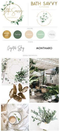 Full Branding with logo design, earthy color palette, official fonts, and earthy boho greenery based mood board for all natural soap and hand crafted bath and body company.
