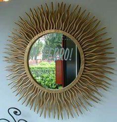 Specchio sole diametro 70cm forgiato a mano con finitura oro