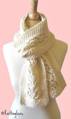 #Knitting_Pattern - Time to get started knitting Christmas gifts! This is my favorite winter scarf, knitted in soft Merino wool. Great in Winter White, but the hearts in the lace make it fabulous in Red for Xmas and Valentine's Day both!