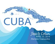 Typographic Map of Cuba by FabulousFelties on Etsy, $15.00